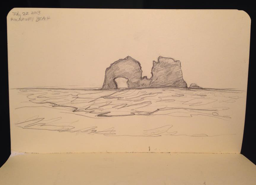 Rockaway Beach according to my tiny sketchbook.
